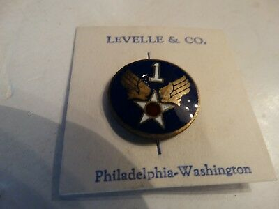 Vintage WW2 WWII U.S.A.F. army air force 1 wings enameled pin sterling 1st div