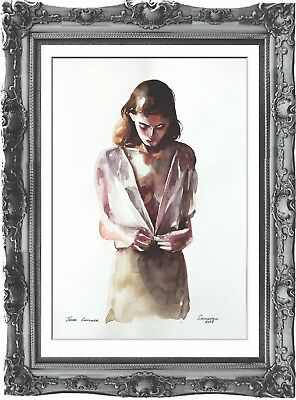 original art painting naked woman 44BK erotik watercolor femme nue dessin A3