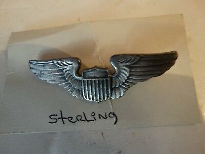 Vintage WW2 WWII U.S.army air corps pilots wings pin sterling 2 inch