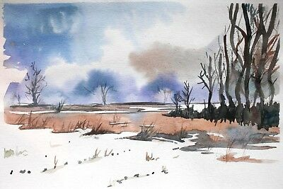 original painting field painting 1X art watercolor signed A3