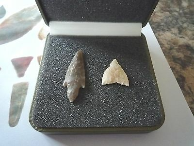 2 x Quality Neolithic Arrowheads in Display Case - 4000BC (X013)