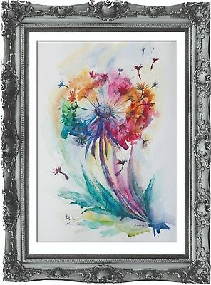 original drawing flowers painting 38MD art watercolor signed A3