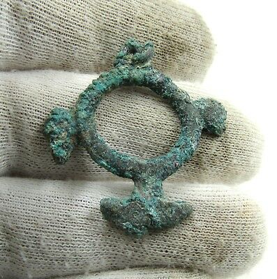 Authentic Medieval Viking Era Bronze Eagle Head Amulet / Pendant - J47