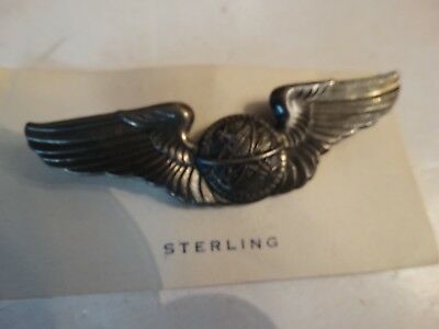 Vintage WW2 WWII U.S.A.A.aviator army pilots wings bomber pin sterling 3 inch