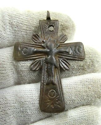 Authentic Late Medieval Bronze Radiate Cross Pendant W/ Jesus  - J54