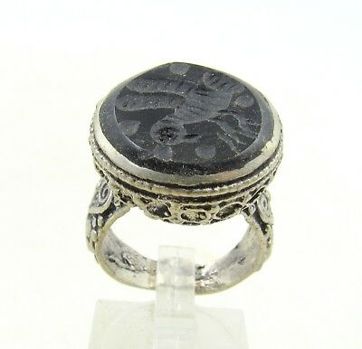 Authentic Post Medieval Silver Ring W/ Intaglio Bird - Wearable - J57