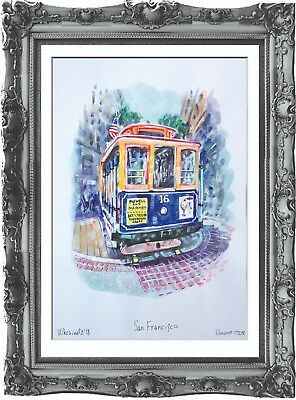 original painting San Francisco USA painting 266UV art watercolor signed A3