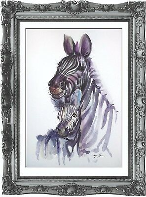 original painting art zebra with a cub 212HI watercolor peinture A3