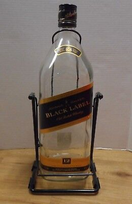 Johnnie Walker Black Label large bottle with metal swing cradle stand 4.5 liter