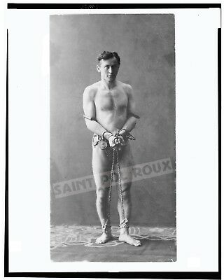 HOUDINI IN HANDCUFFS & CHAINS NEARLY NAKED  / Archival Magician Photo Reprint