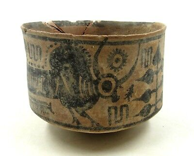 Authentic Ancient Indus Valley Terracotta Bowl W/ Bull  - L47