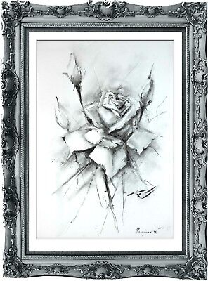 original drawing the Rose flower 227HI art pastel fleur de lys