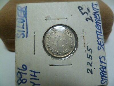 1896 Straights Settlement 10 Cent Silver Coin