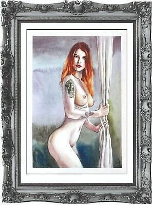 original art painting naked woman 102ShA erotik watercolor femme nue dessin A3