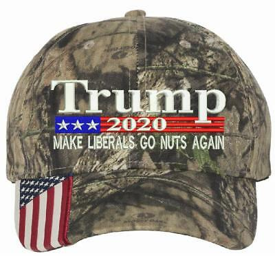 Donald Trump Cap MAKE LIBERALS GO NUTS AGAIN President 2020 Flag Mossy Oak Hat