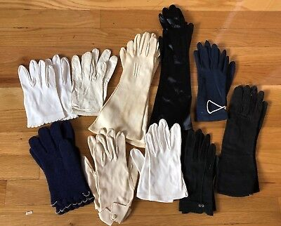 LOT 10 PAIRS VINTAGE 1950s 1960s LADIES GLOVES SHORT MID LENGTH FORMAL CASUAL