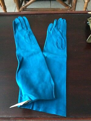 "Vintage Long Kidskin Leather 15"" Gloves Size M Italy"
