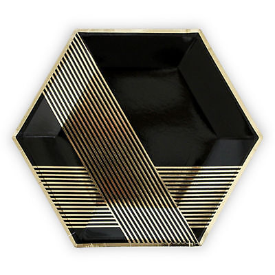 Party Plate 8 Pack Black and Gold Premium Large Hexagon
