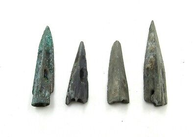 Authentic Lot Of 4 Ancient Scythian Bronze Arrow Heads - J72