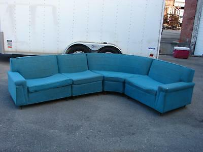 Mid Century Modern Kroehler Turquoise Sectional Sofa As Found