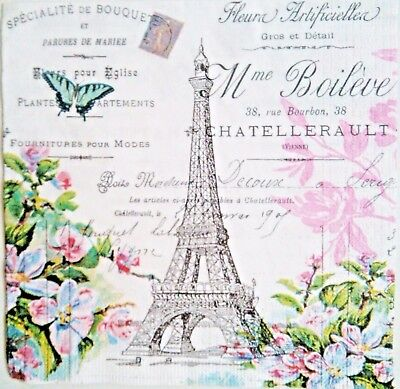 4 x SERVILLETAS DE PAPEL / DECOUPAGE CRAFT, PARIS VINTAGE TORRE EIFFEL