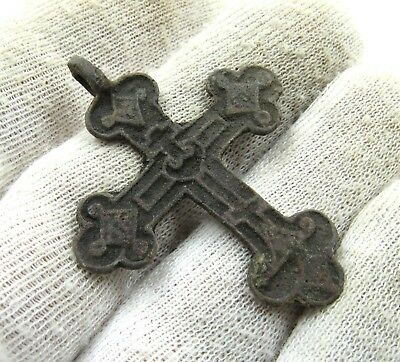 Authentic Late Medieval Era Bronze Cross Pendant - Wearable - J82