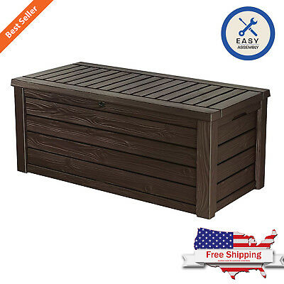 Outdoor Furniture Storage Deck Box Keter 60 Gallon Patio Pool Bench