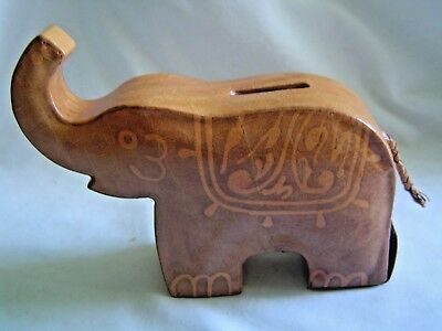 Tan Leather Elephant Bank Trunk Up Braided Tail