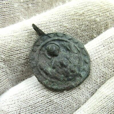 Authentic Ancient Byzantine Bronze Pendant W/ Mary & Jesus - J92