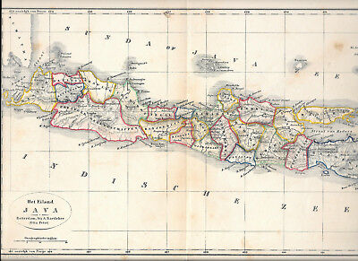 Old coloured map of Java. 1852