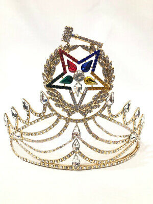 Masonic OES Grand Matron Crown in Gold with Rhinestones, OES CROWN, ORDER OF THE