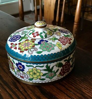 Antique Chinese Cloisonne and Enamel Tea Caddy Box