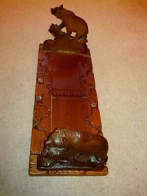 Antique Black Forest Bears Sliding Bookends In Very Good Condition.