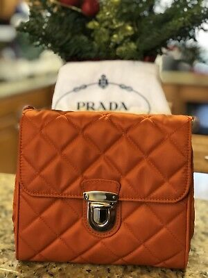 b029971f7fe9 NWT Prada Papaya Orange Tessuto Impuntu Pattina Nylon Cross Body Bag BP0623