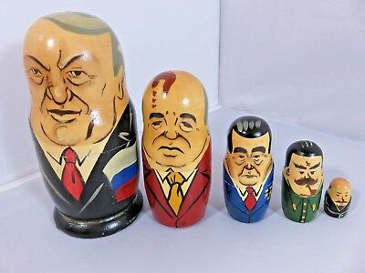 WOODEN Set of 5 Nesting Russian Leaders Hand Painted