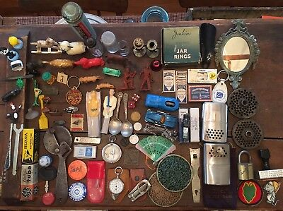 Vintage/modern Junk Drawer Lot Toys/utensils/tools/nascar/auto/pins/collectibles