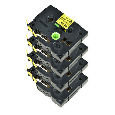 4PK For Brother PT-E300 PT-E550W HSe631 Heat Shrink Tube Black on Yellow 11.7mm