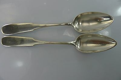 ANTIQUE RARE PAIR AUSTRIAN-HUNGARY SOLID 157 gr. SILVER SPOONS, SERVING - SPOONS