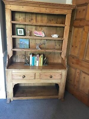Antique pine dresser with three shelves and two drawers in good condition