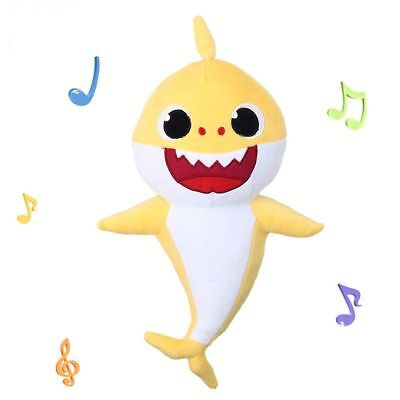 Baby Shark Plush Doll with Music Sound Stuffed Sweetie Animals Toy Soft Bendy