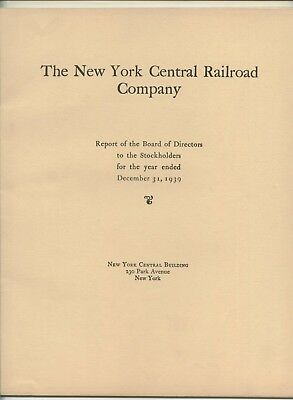 The New York Central Railroad Company Annual Report 1939 with Statistical Tables
