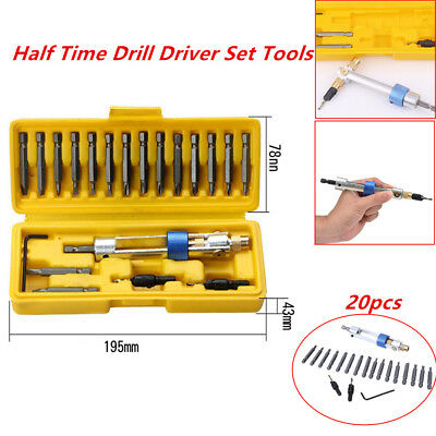 Half Time High Speed Screwdriver Head 20 bits Drill Driver Set Tool Portable Box