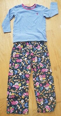 Joules 3-4 years girl long pyjamas set top trousers floral summer lounge purple
