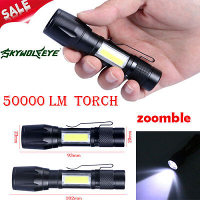 Tactical Flashlight Zoomable 50000 LM Light 3Modes Torch XPE LED 14500/AA Lamp