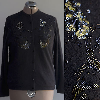 Garland Vintage Style Beaded Sweater Black Angora Wool Blend Pearl Buttons L