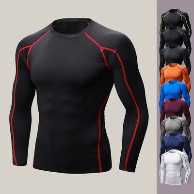 Men's Muscle Slim Fitness Shirts Athletic Elastic T-shirt Gym Sport Top