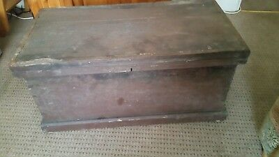 Vintage Old Wooden Tool Chest Trunk