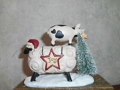 Blossom Bucket Curly JOY Sheep with Pig riding on his back with tree  4 x 4 3/4