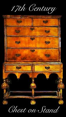 William And Mary Walnut Chest On Stand
