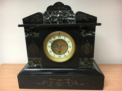 Antique Victorian Black slate / marble Mantle Clock with working pendulum action
